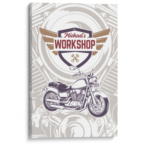 Modern Motorcycle Workshop - Personalized Canvas