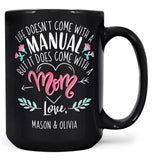 Life Comes with a Mom - Personalized Mug - Black / Large - 15oz