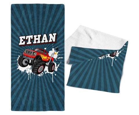 Monster Truck - Personalized Kids Name Towel