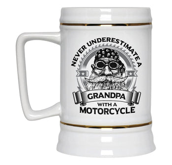 Never Underestimate a (Nickname) with a Motorcycle - Personalized Beer Stein - [variant_title]