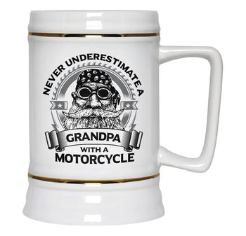 Never Underestimate a (Nickname) with Motorcycle  - Beer Stein