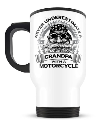 Never Underestimate a (Nickname) with a Motorcycle - Personalized Travel Mug - [variant_title]