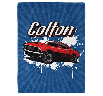Muscle Car - Personalized Name Blanket - Micro Fleece