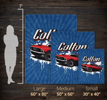 Muscle Car - Personalized Blanket - [variant_title]