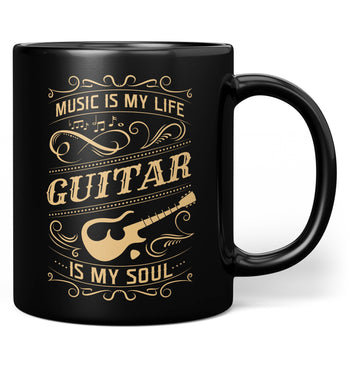 Music Is My Life Guitar Is My Soul - Mug - Black / Regular - 11oz