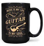 Music Is My Life Guitar Is My Soul - Mug - Black / Large - 15oz