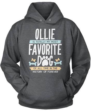 Totally My Most Favorite Dog - Personalized T-Shirt - Pullover Hoodie / Dark Heather / S