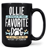 Totally My Most Favorite Dog - Personalized Mug - Black / Large - 15oz