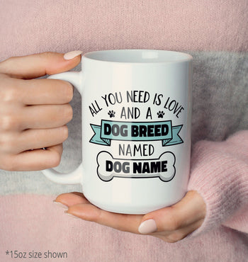 Love and a (Dog Breed) Named (Dog Name) - Mug - [variant_title]