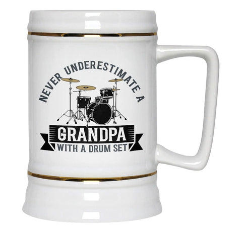 Never Underestimate a (Nickname) with a Drum Set - Personalized Beer Stein