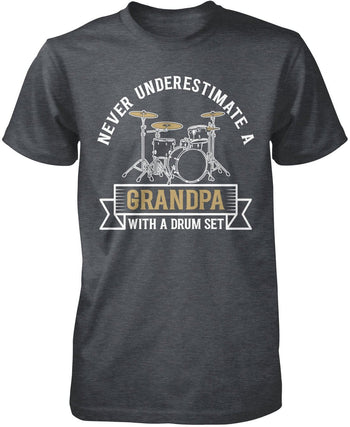 Never Underestimate a (Nickname) with a Drum Set - Personalized T-Shirt - Premium T-Shirt / Dark Heather / S
