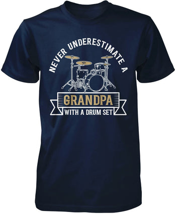 Never Underestimate a (Nickname) with a Drum Set - Personalized T-Shirt - Premium T-Shirt / Navy / S