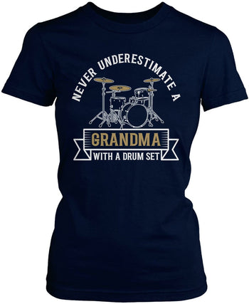 Never Underestimate a (Nickname) with a Drum Set - Personalized T-Shirt - Women's Fit T-Shirt / Navy / S