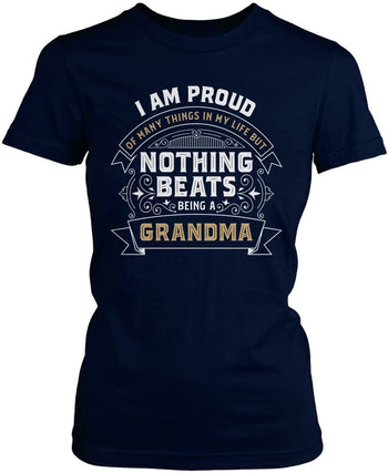 Nothing Beats Being a (Nickname) - Personalized T-Shirt - Women's Fit T-Shirt / Navy / S
