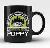 This Poppy Loves His RV - Black Mug / Tea Cup