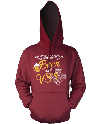 Today's Good Mood is Sponsored by Beer & V8's - Pullover Hoodie / Maroon / S