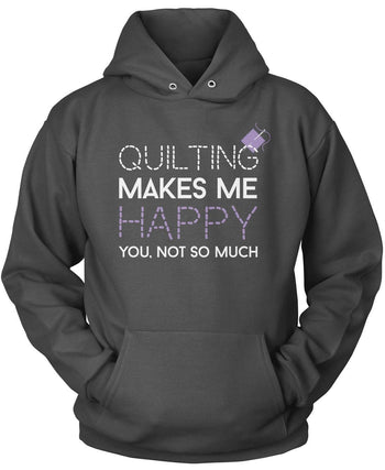 Quilting Makes Me Happy - Pullover Hoodie / Dark Heather / S