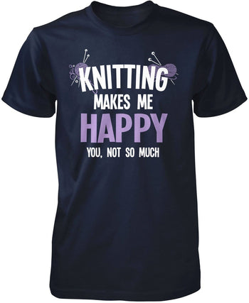 Knitting Makes Me Happy - Premium T-Shirt / Navy / S