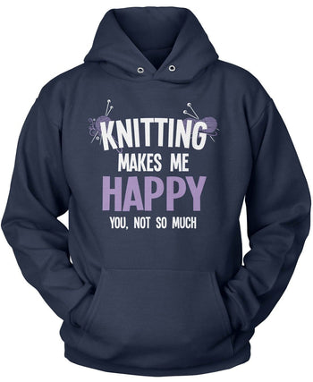 Knitting Makes Me Happy - Pullover Hoodie / Navy / S