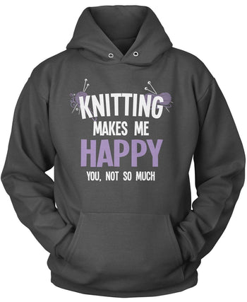Knitting Makes Me Happy - Pullover Hoodie / Dark Heather / S