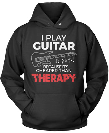 Playing Guitar Is Cheaper Than Therapy - Pullover Hoodie / Black / S