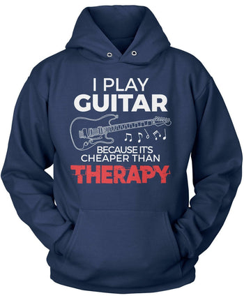 Playing Guitar Is Cheaper Than Therapy - Pullover Hoodie / Navy / S