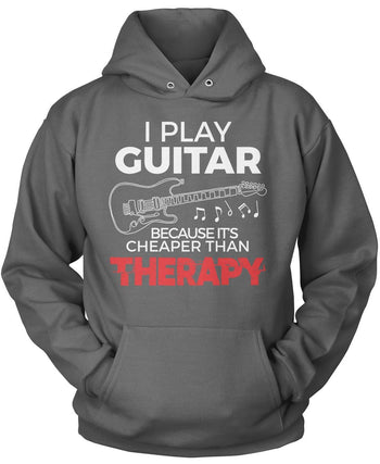 Playing Guitar Is Cheaper Than Therapy - Pullover Hoodie / Dark Heather / S