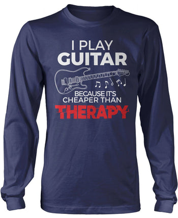 Playing Guitar Is Cheaper Than Therapy - Long Sleeve T-Shirt / Navy / S