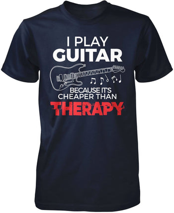 Playing Guitar Is Cheaper Than Therapy - Premium T-Shirt / Navy / S