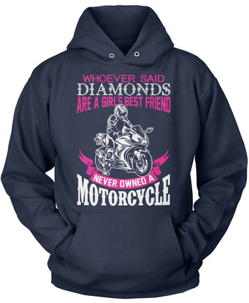 Motorcycles Are a Girl's Best Friend - Pullover Hoodie / Navy / S