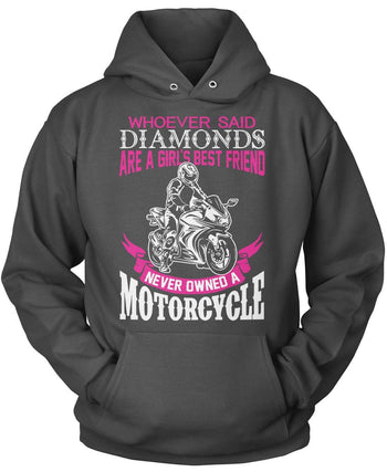 Motorcycles Are a Girl's Best Friend - Pullover Hoodie / Dark Heather / S