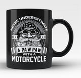 Never Underestimate a Paw Paw with a Motorcycle - Black Mug / Tea Cup