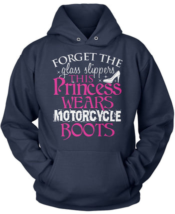 This Princess Wears Motorcycle Boots - Pullover Hoodie / Navy / S