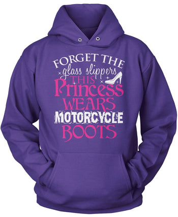 This Princess Wears Motorcycle Boots - Pullover Hoodie / Purple / S