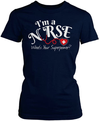 I'm a Nurse What's Your Superpower - Women's Fit T-Shirt / Navy / S