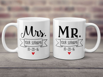 Mr & Mrs Newlywed Personalized Mugs (Set of Two) 11oz