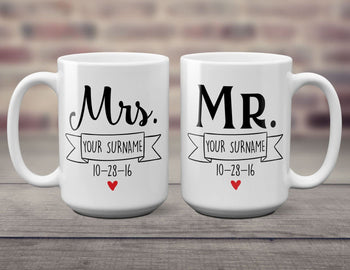 Mr & Mrs Newlywed Personalized Mugs (Set of Two) 15oz