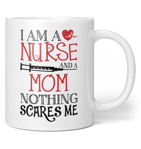 Nurse (Nickname) Nothing Scares Me - Personalized Coffee Mug / Tea Cup