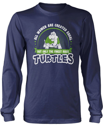 Only the Finest Women Raise Turtles - Long Sleeve T-Shirt / Navy / S