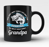 This Grandpa Loves Fishing - Black Mug / Tea Cup