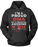 Proud Oma of An Awesome Nurse Pullover Hoodie Sweatshirt