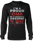 Proud Oma of An Awesome Nurse Long Sleeve T-Shirt