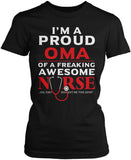 Proud Oma of An Awesome Nurse Women's fit T-Shirt
