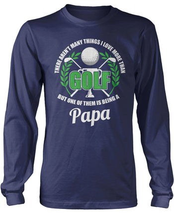 This (Nickname) Loves Golf - Personalized T-Shirt - Long Sleeve T-Shirt / Navy / S