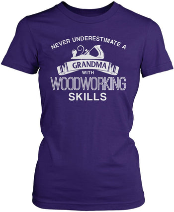 Never Underestimate a (Nickname) with Woodworking Skills - T-Shirt - Women's Fit T-Shirt / Purple / S