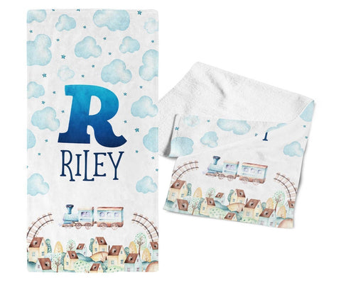 Cloudy Steam Train - Personalized Towel - Towels
