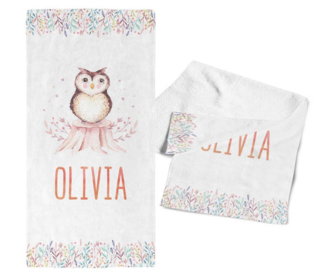 Woodland Owl - Personalized Kids Name Towel