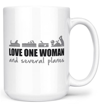 Love One Woman and Several Planes - Mug - White / Large - 15oz