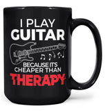 Playing Guitar Is Cheaper Than Therapy - Mug - Black / Large - 15oz