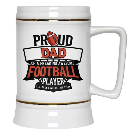 Proud (Nickname) of an Awesome Football Player - Personalized Stein